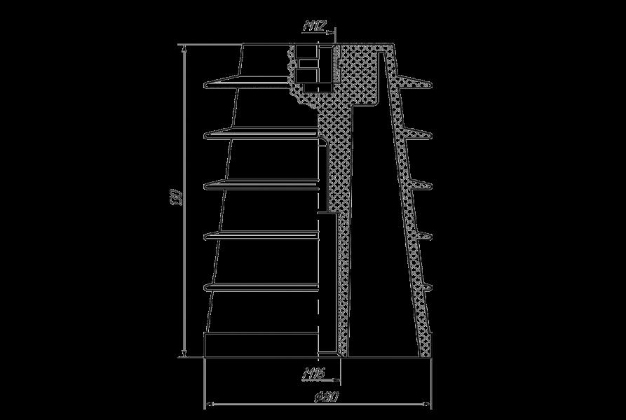 Изоляторы опорные ребристые полимерные на напряжение 10 кВ типа ИО8П–130/10