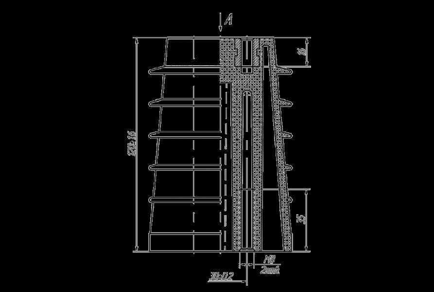 Изоляторы опорные ребристые полимерные на напряжение 10 кВ типа ИО8П 120/10