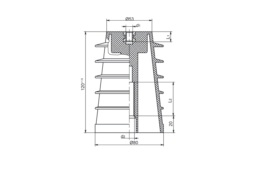 Изоляторы опорные полимерные типа ИОРП-10 на напряжение 10 кВ