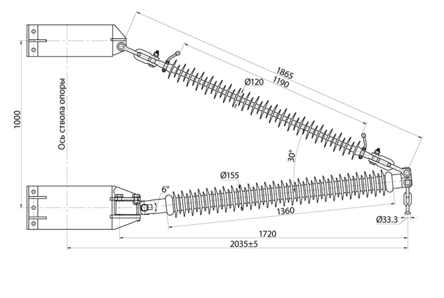 Траверсы изолирующие полимерные консольные с тягой поворотные на напряжение 110 кВ
